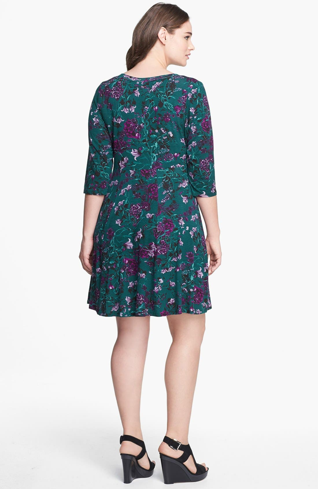 Alternate Image 2  - Evans Floral Print Skater Dress (Plus Size)