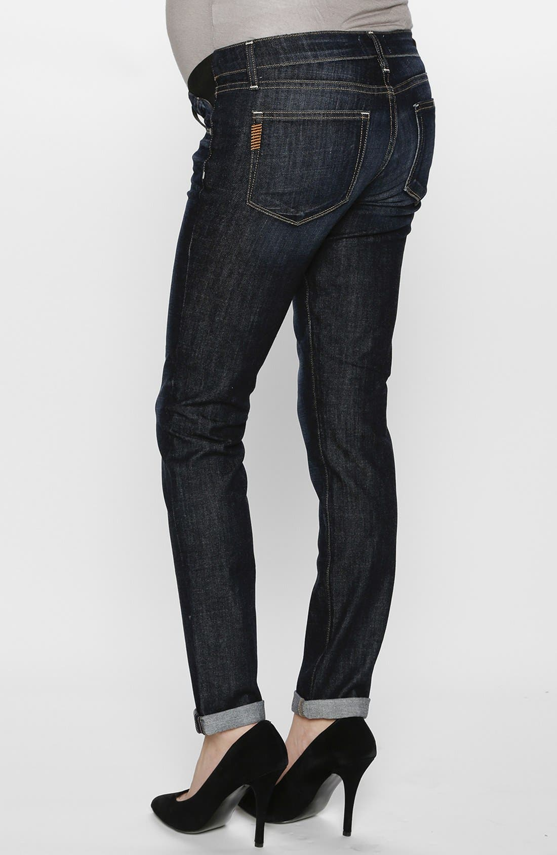 Alternate Image 2  - Paige Denim 'Jimmy Jimmy' Skinny Boyfriend Maternity Jeans (Blue)