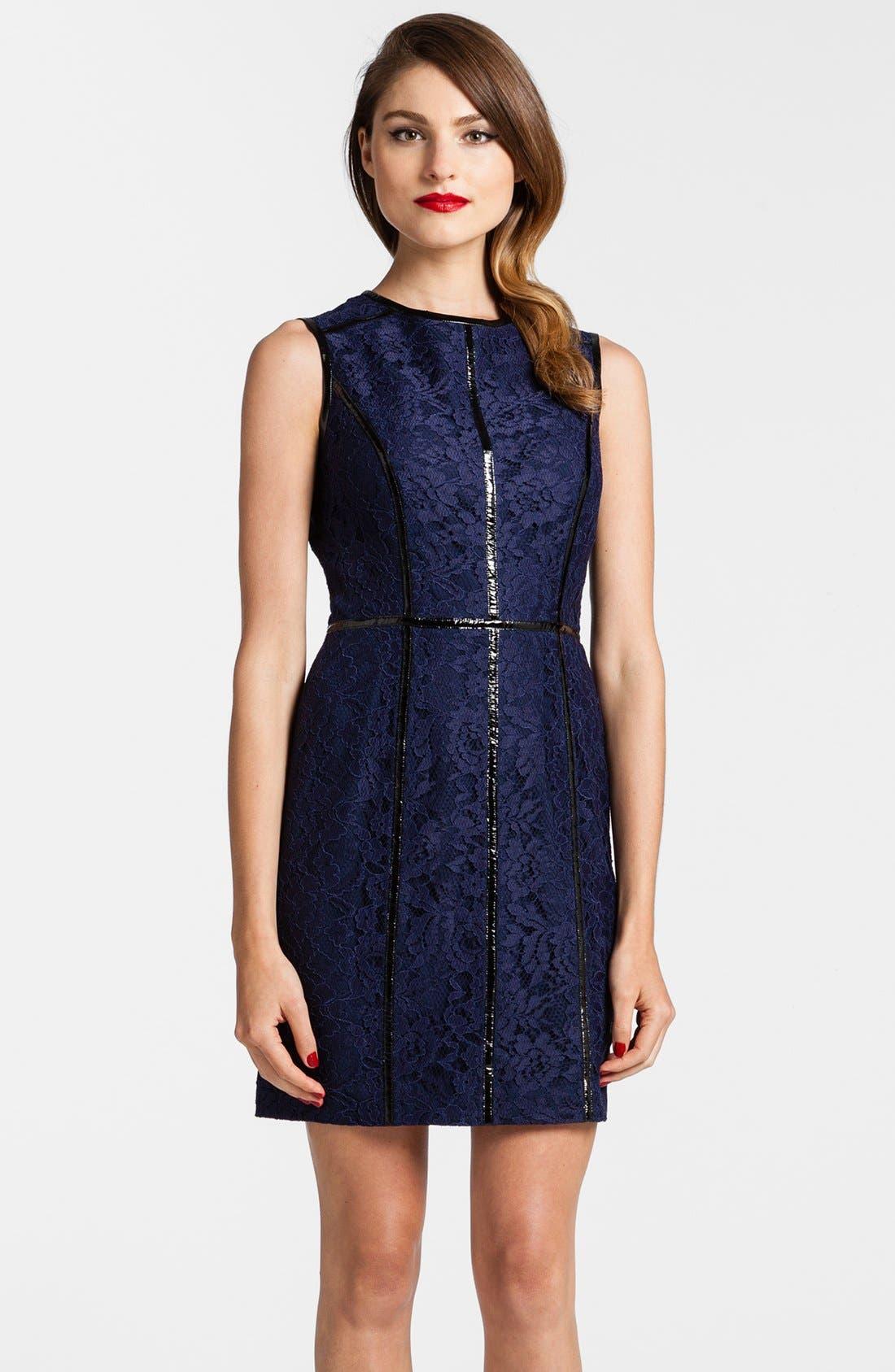 Main Image - Cynthia Steffe Faux Leather Piping Lace Sheath Dress