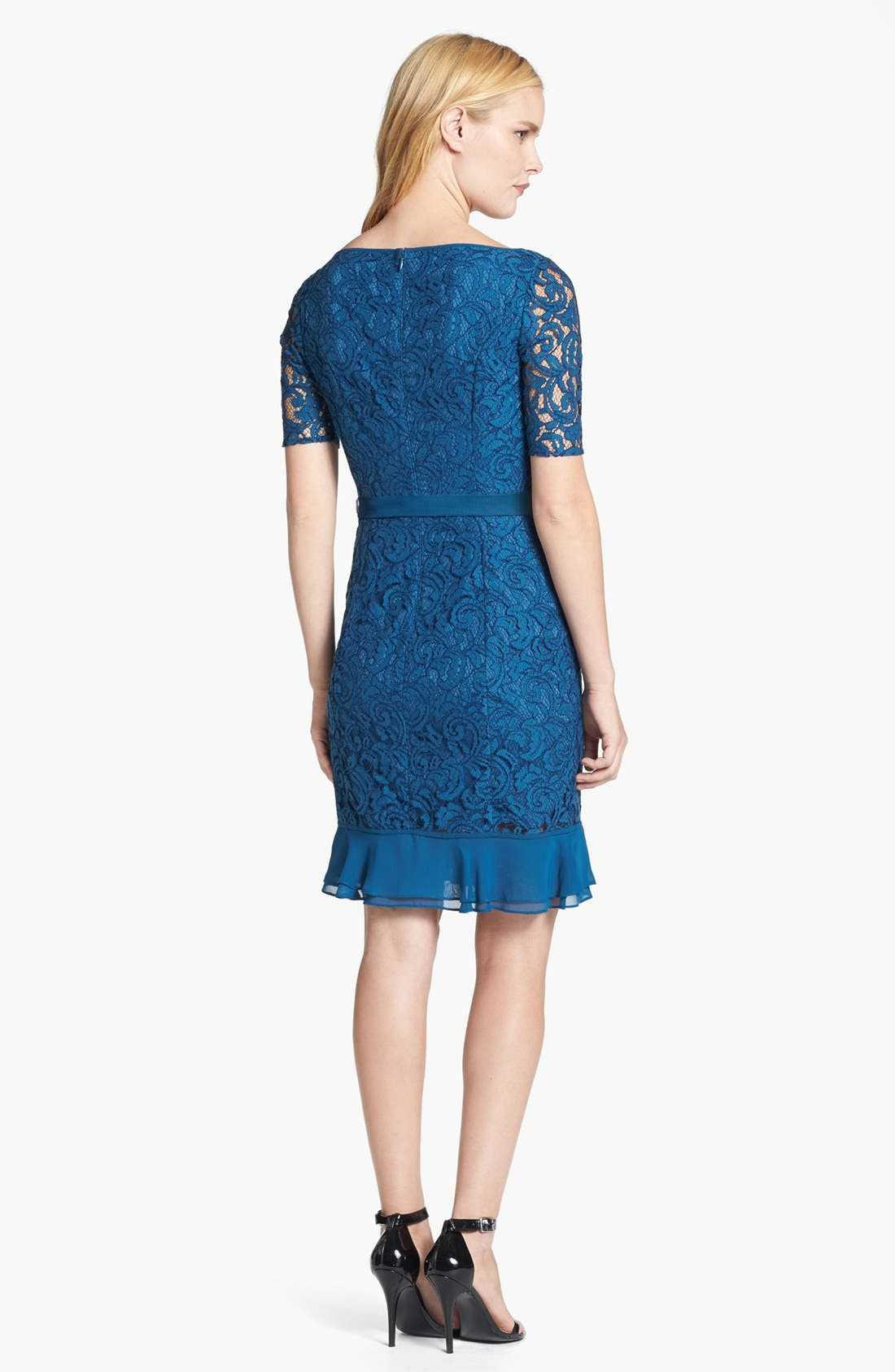 Alternate Image 2  - Adrianna Papell Ruffle Hem Lace Sheath Dress