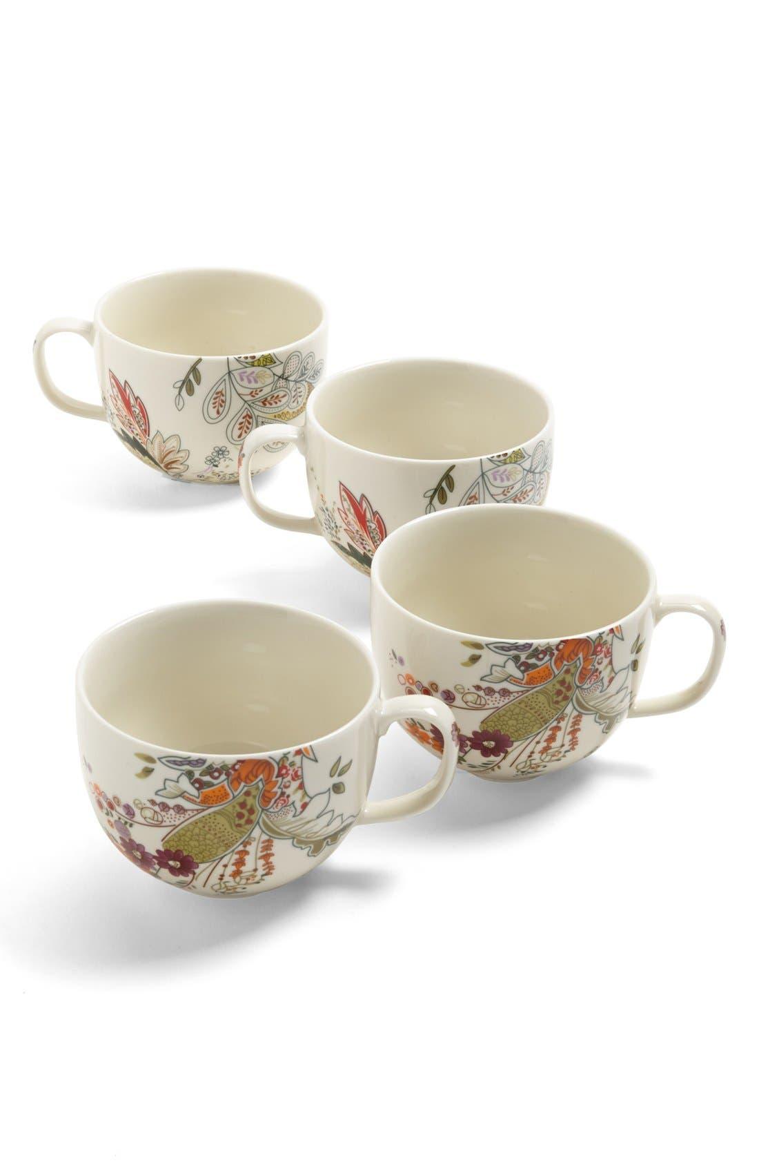 Alternate Image 1 Selected - 'Floral Henna' Porcelain Mugs (Set of 4)