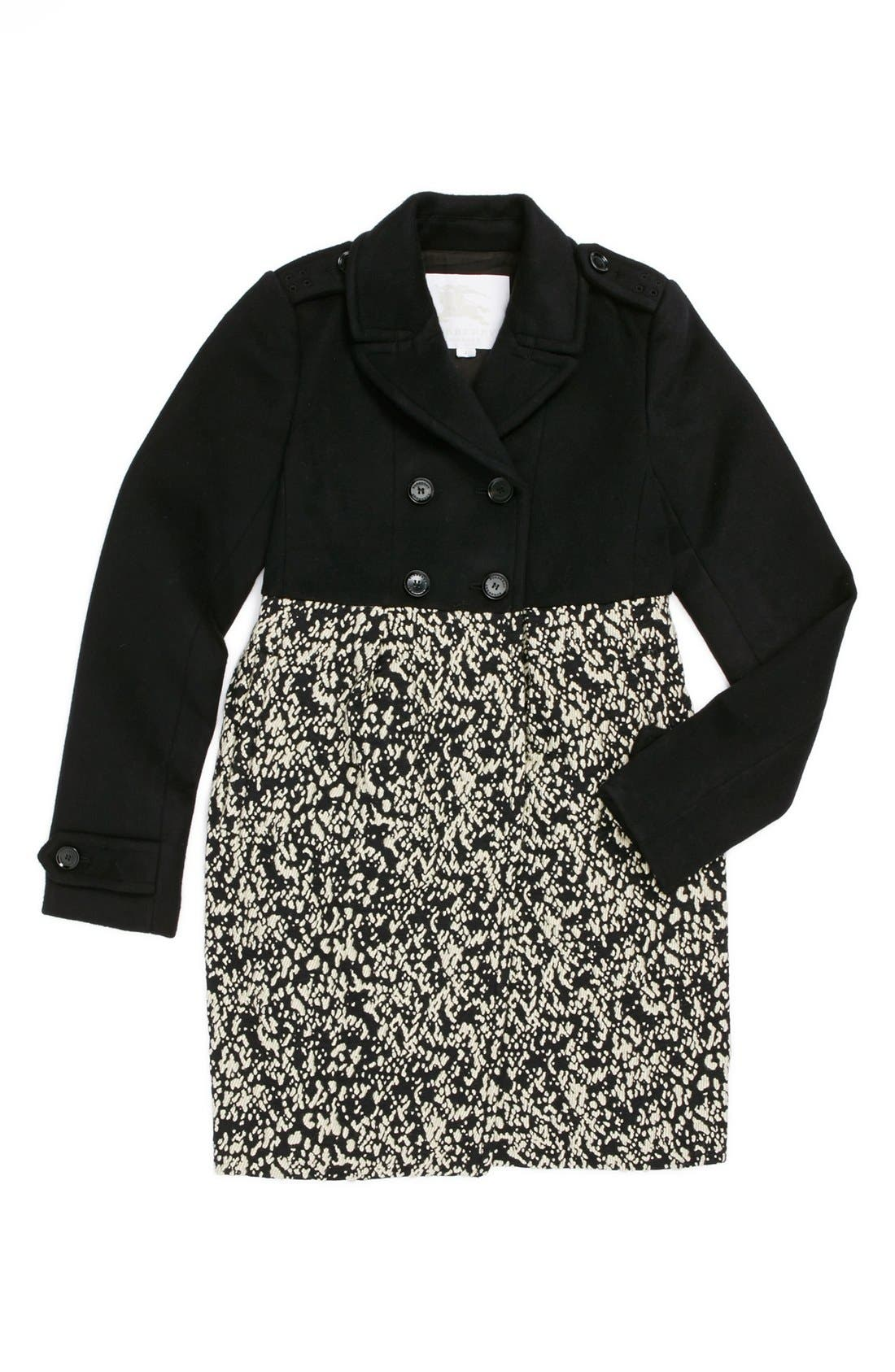 Alternate Image 1 Selected - Burberry Double Breasted Coat (Little Girls & Big Girls)
