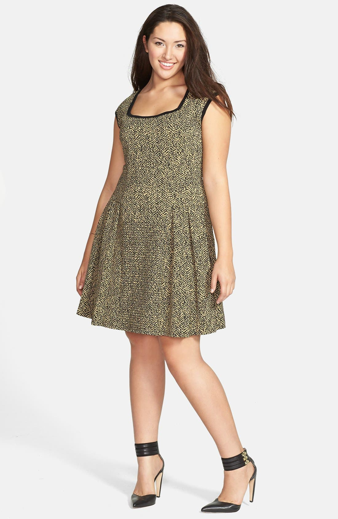 Alternate Image 4  - Eight Sixty Jacquard Skater Dress (Plus Size)