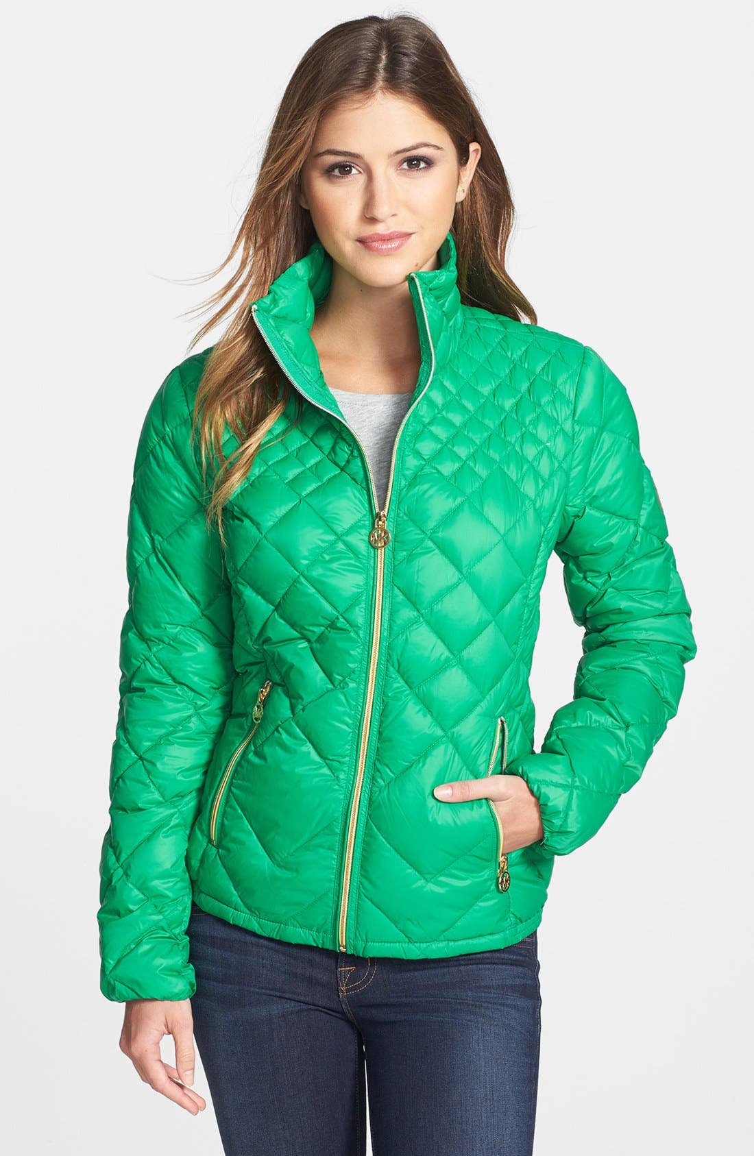 Main Image - MICHAEL Michael Kors Diamond Quilted Down Jacket (Online Only)