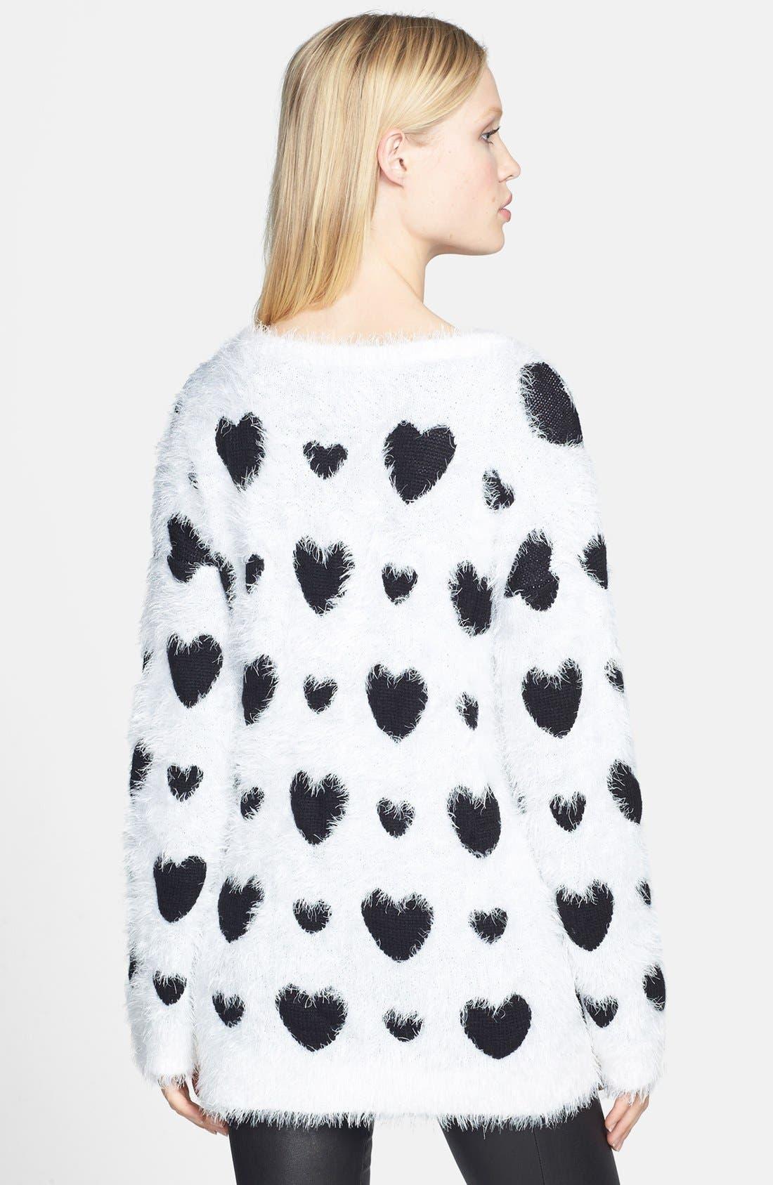 Alternate Image 2  - Robbi & Nikki Textured Heart Sweater