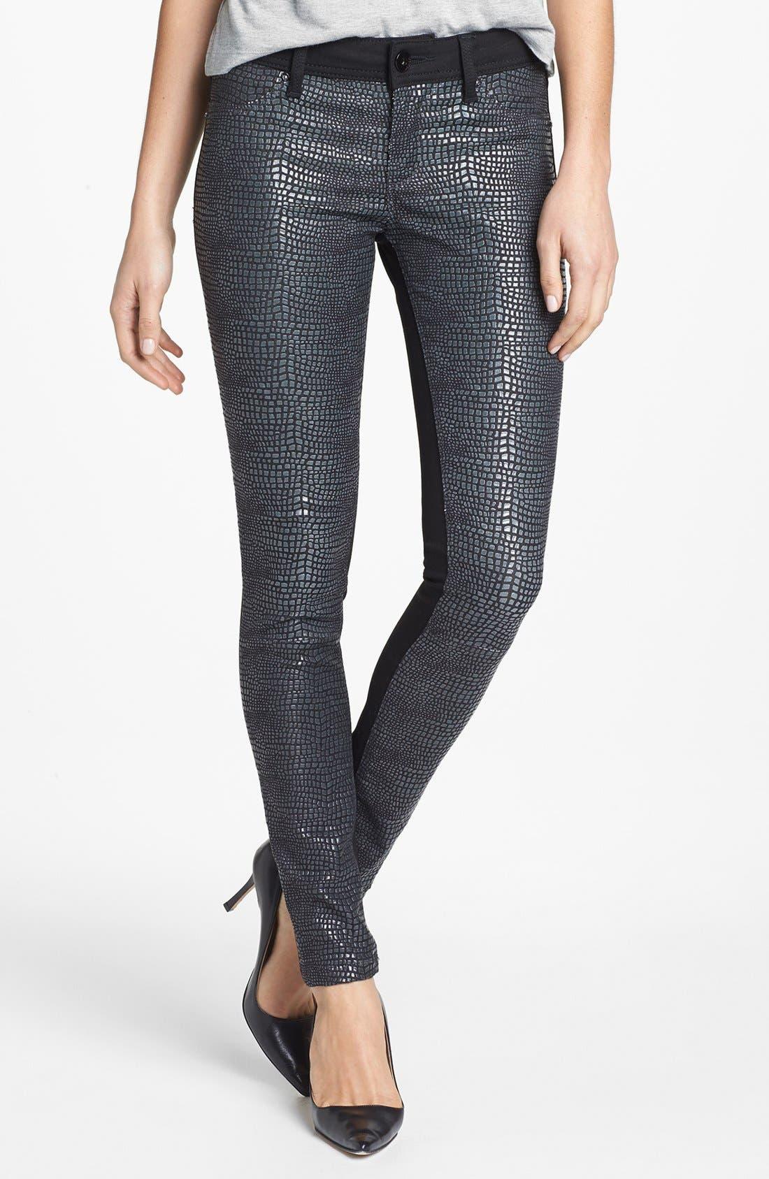 Main Image - DL1961 'Emma' Metallic Front Skinny Jeans (Python)