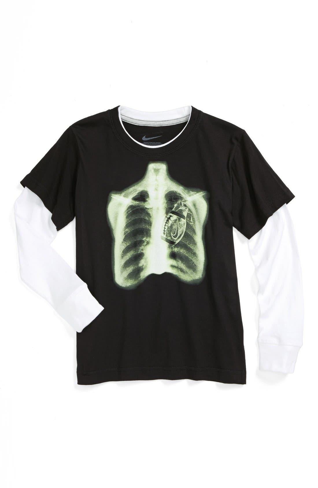 Alternate Image 1 Selected - Nike 'Heart of the Game' Layered Sleeve T-Shirt (Little Boys)