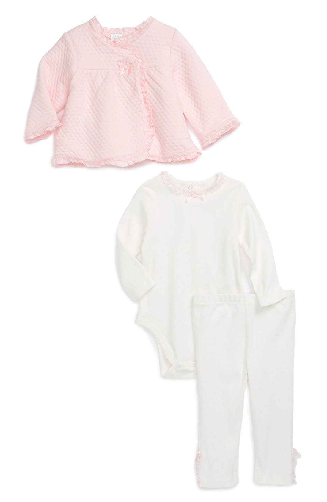 Alternate Image 1 Selected - Little Me Jacket, Bodysuit & Leggings (Baby Girls)