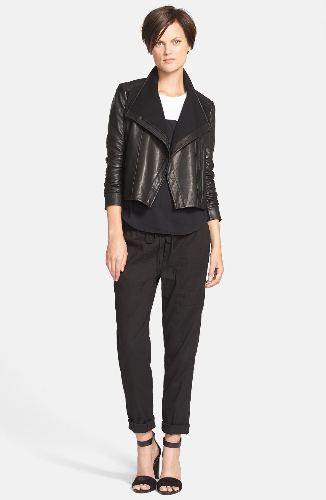 Alternate Image 3  - Vince Side Zip Leather Jacket with Ponte Contrast