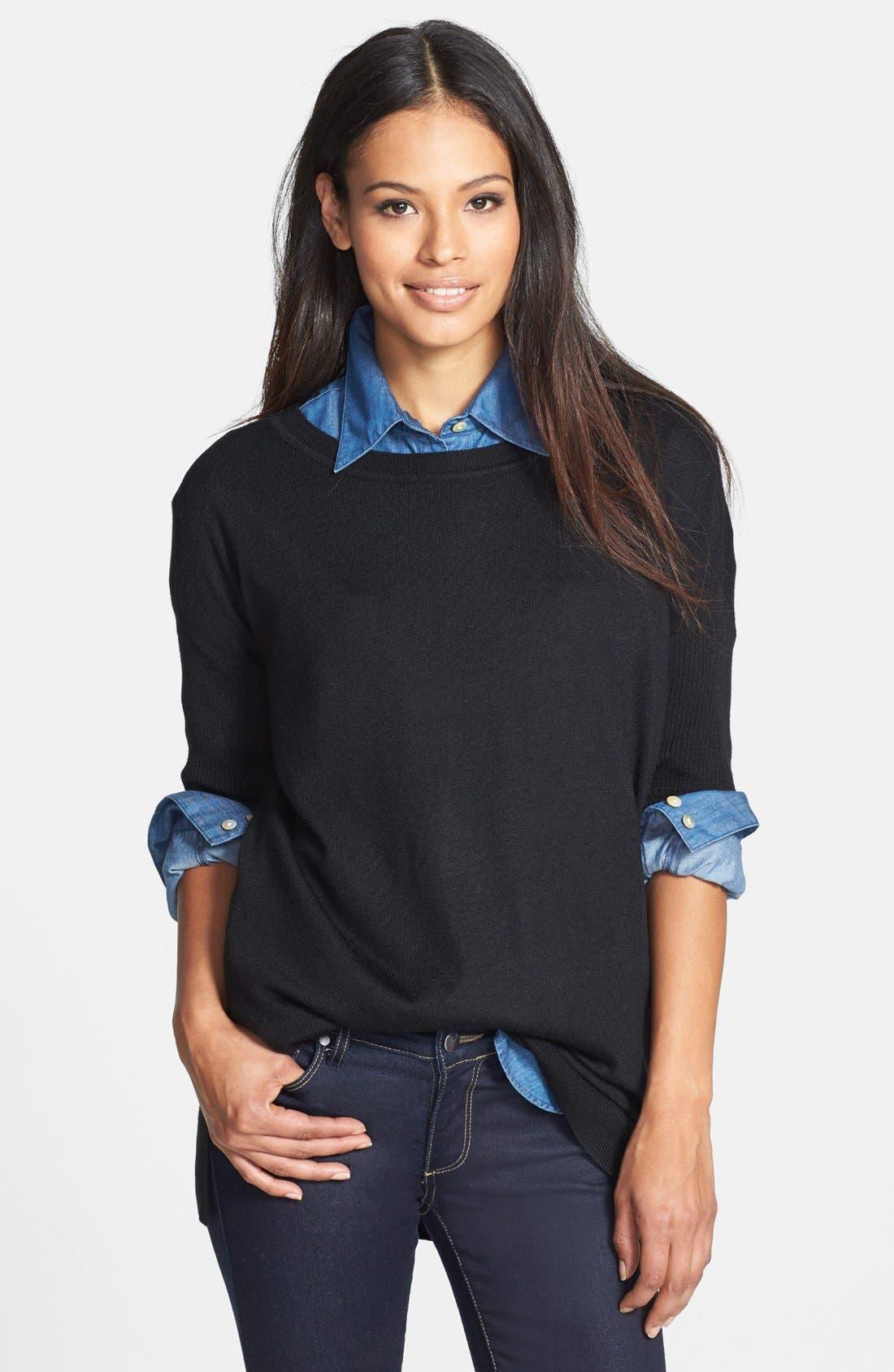 Dolman Sleeve Tunic Sweater,                             Main thumbnail 1, color,                             Rich Black