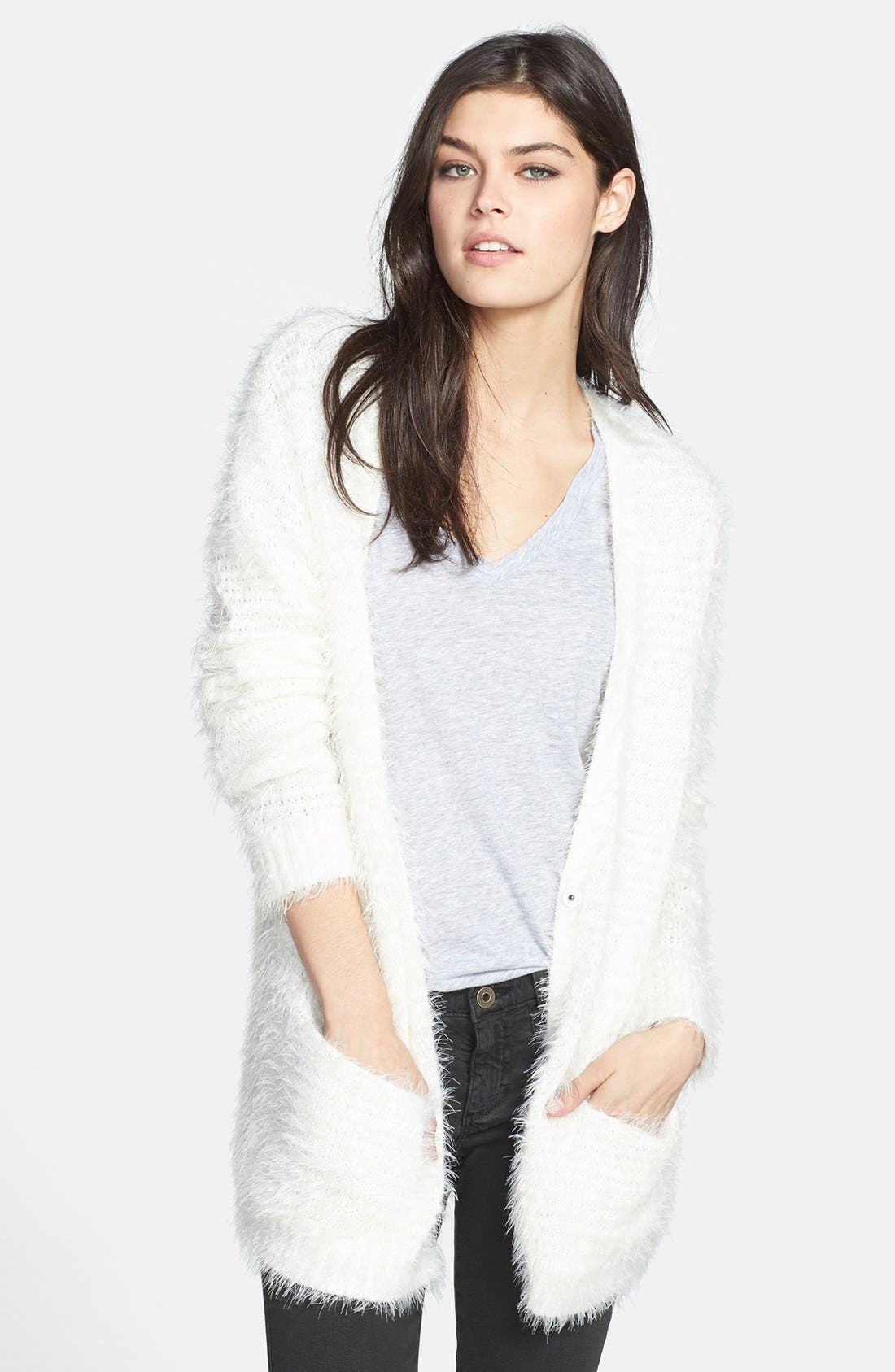 Textured Cardigan,                         Main,                         color, Ivory