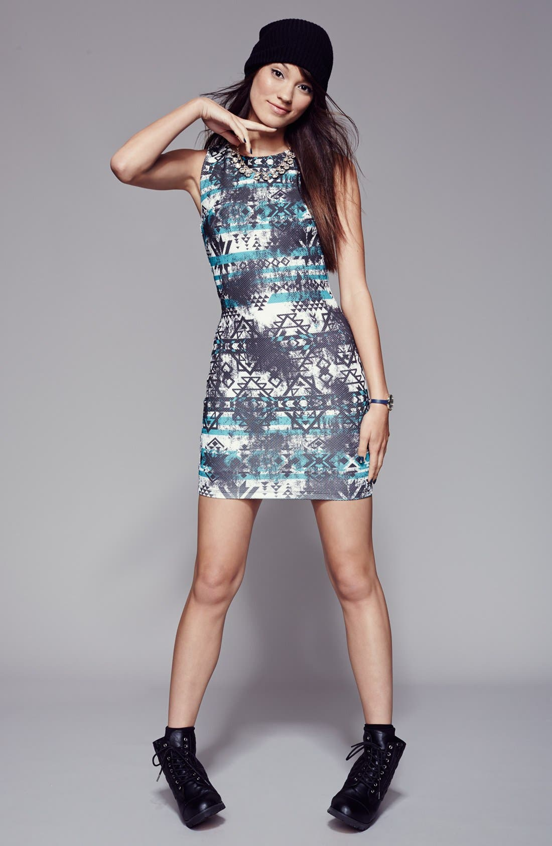 Alternate Image 4  - Trixxi Print Racerback Body-Con Dress (Juniors)