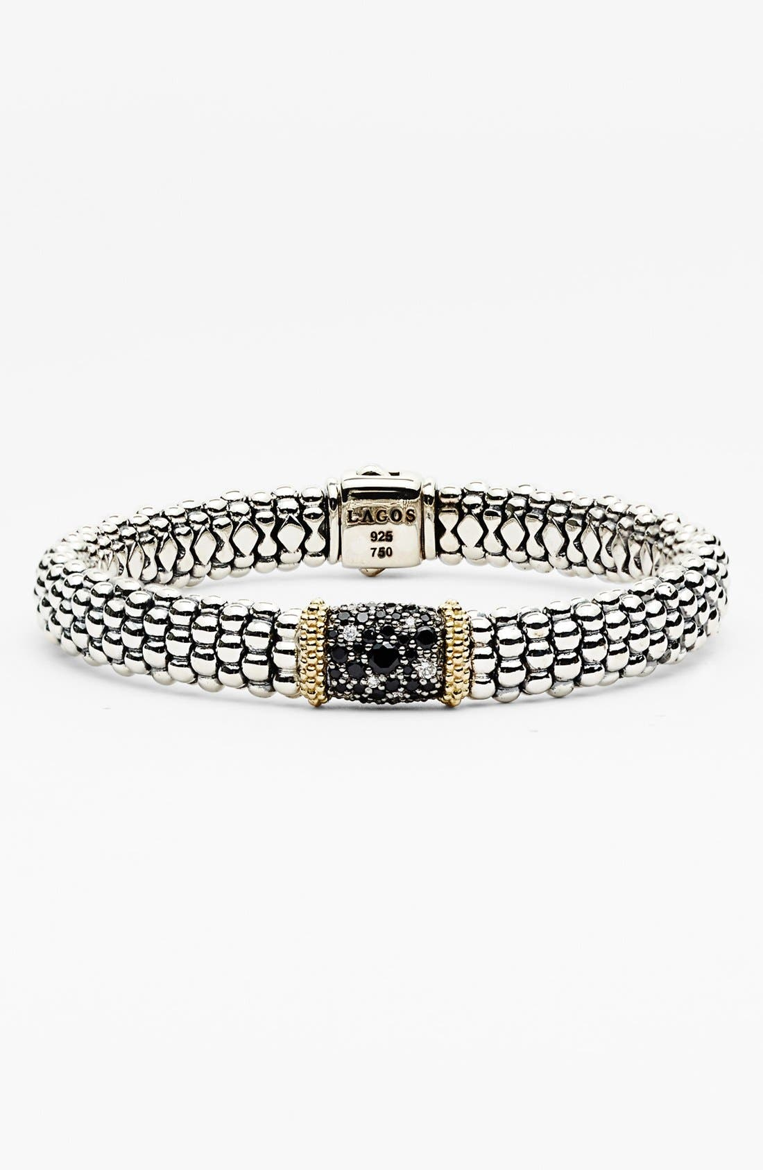 Main Image - Lagos 'Nightfall' Caviar™ Diamond & Black Spinel Rope Bracelet