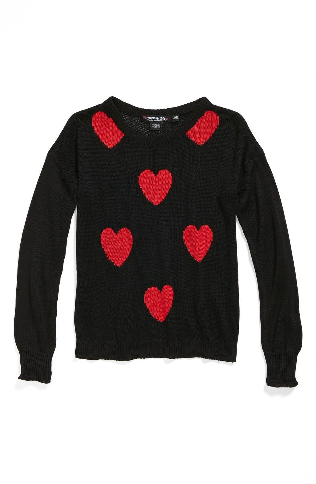 Main Image - Flowers by Zoe 'Hearts' Knit Sweater (Big Girls)