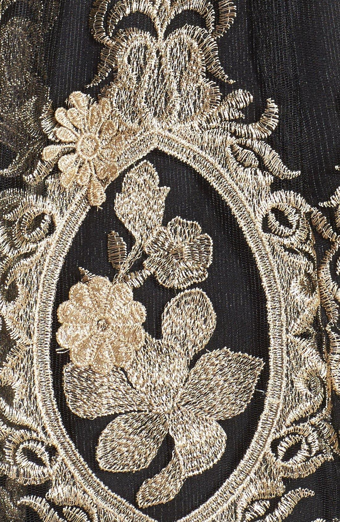 Alternate Image 4  - Aidan Mattox Metallic Embroidered Tulle Fit & Flare Dress
