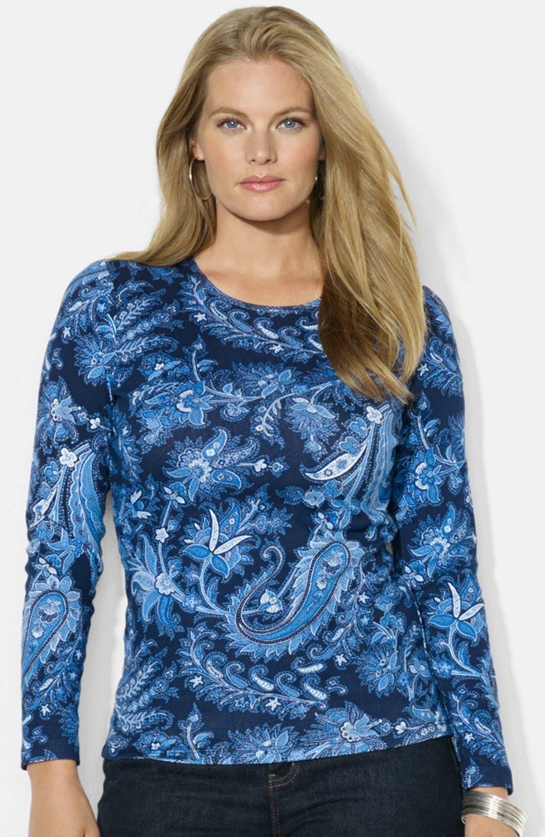 Alternate Image 1 Selected - Lauren Ralph Lauren Print Cotton Top (Plus Size)