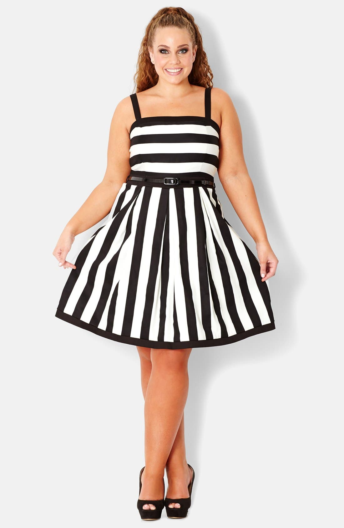 Alternate Image 1 Selected - City Chic Stripe Stretch Cotton Party Dress (Plus Size)