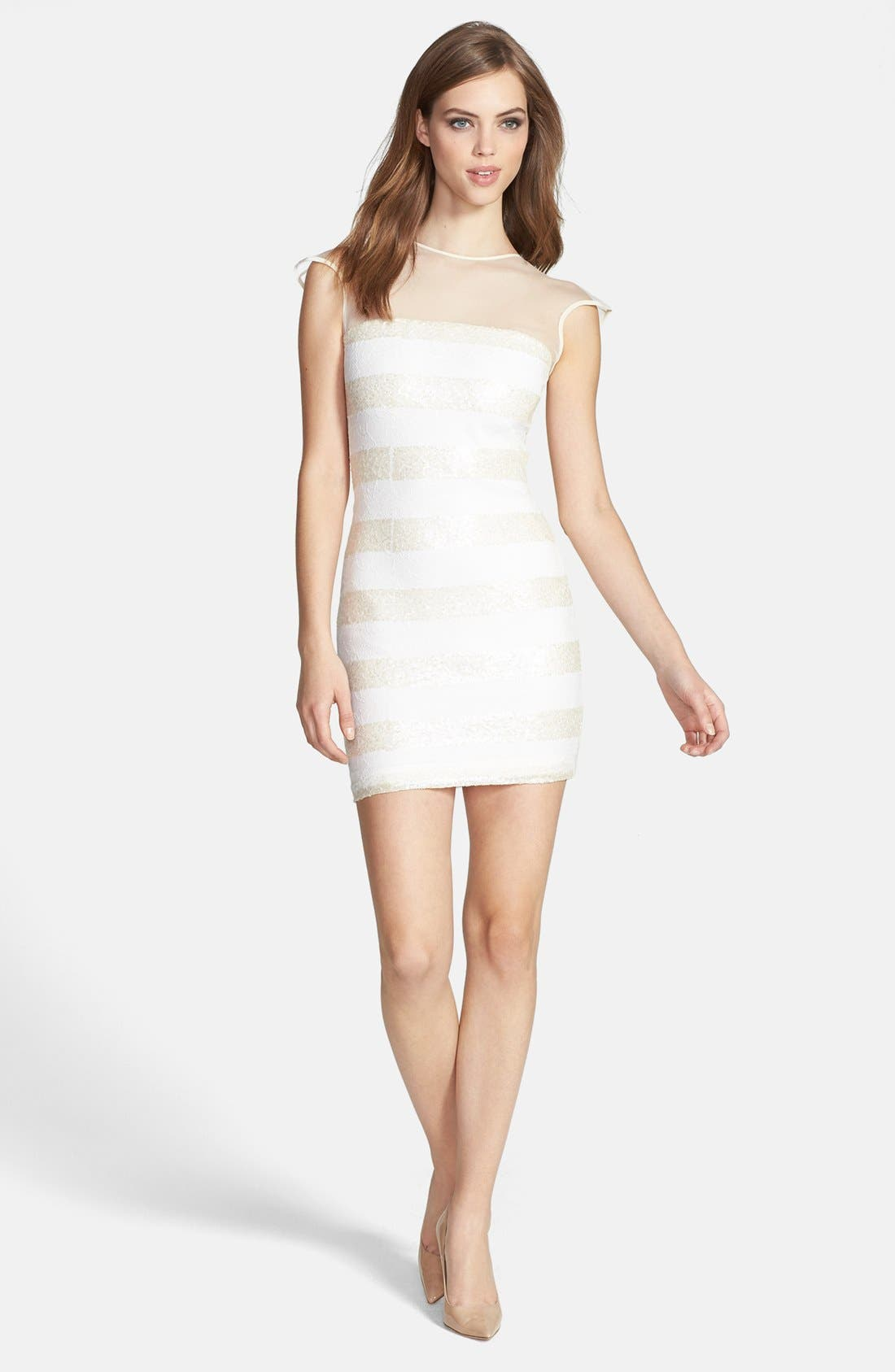 Alternate Image 3  - Dress the Population 'Aubrey' Sequin Stripe Lace Body-Con Dress