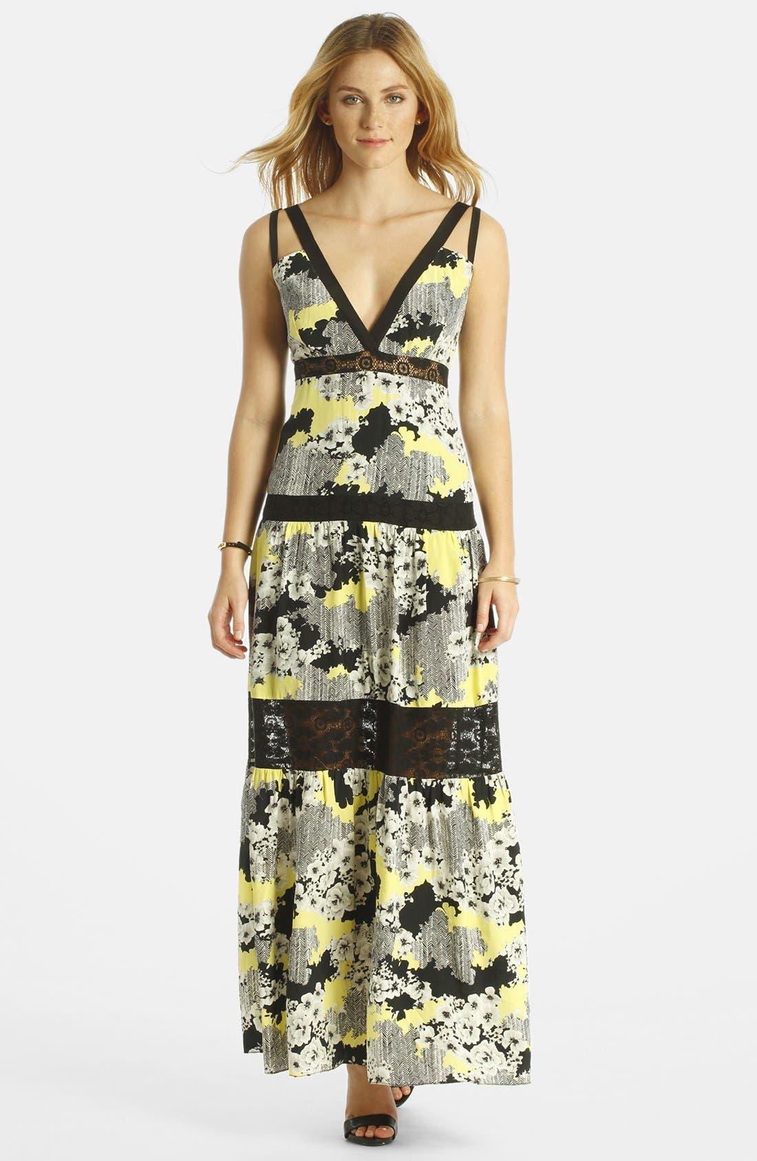 Main Image - LABEL by five twelve Lace Insert Print Maxi Dress