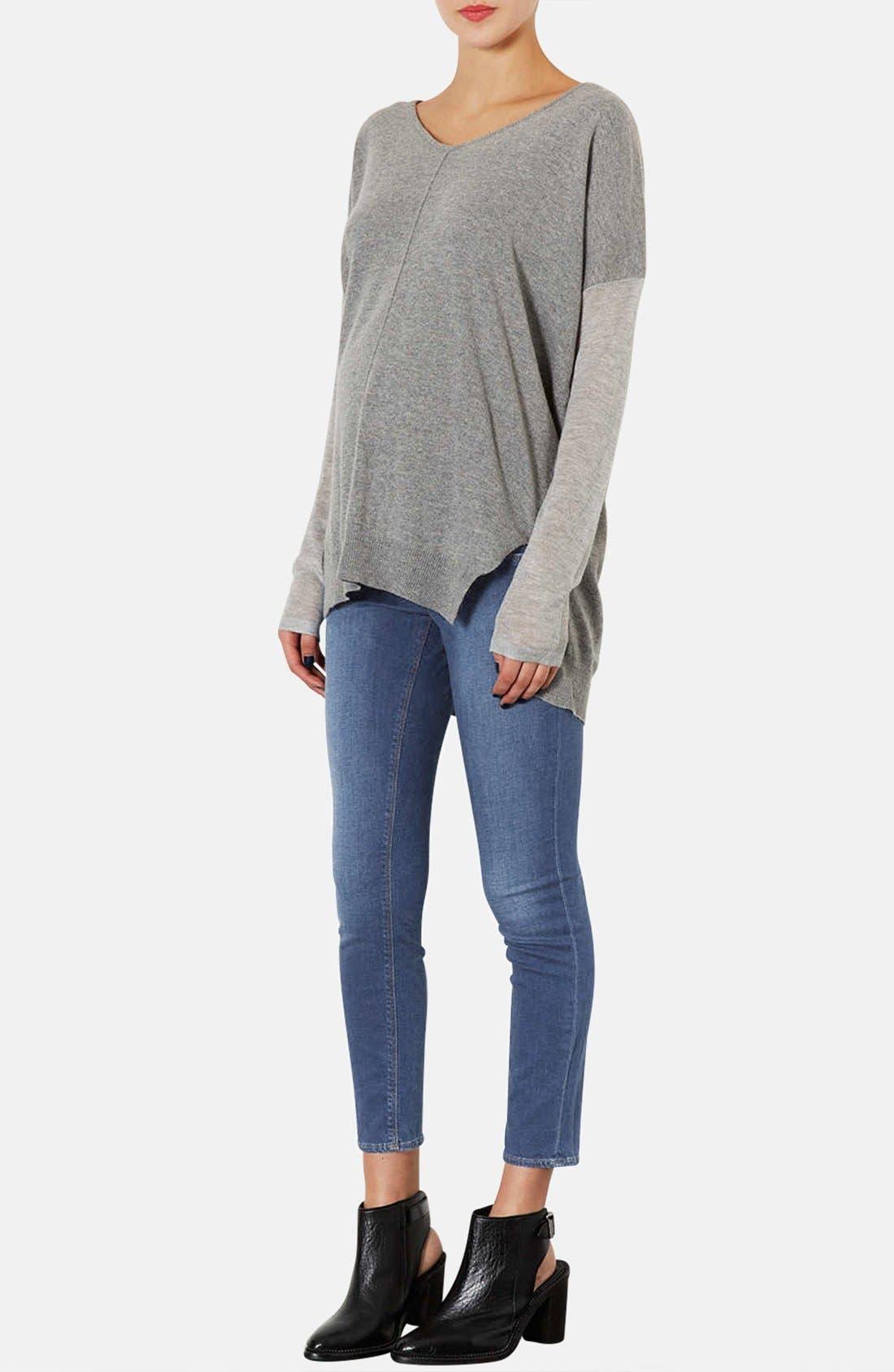 Alternate Image 4  - Topshop Moto 'Leigh' Skinny Maternity Jeans (Short)(Mid Stone)