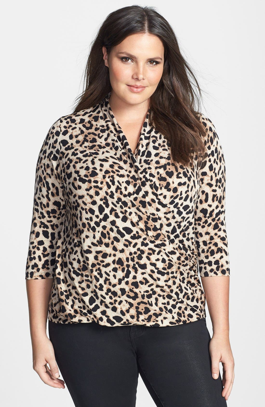 Alternate Image 1 Selected - Vince Camuto Animal Print Faux Wrap Top (Plus Size)