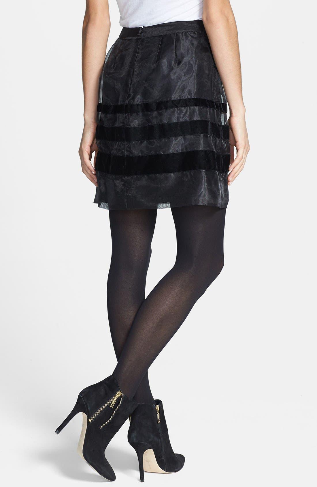 Alternate Image 2  - Halogen® Velvet Stripe Organza Skirt (Regular & Petite Focus)