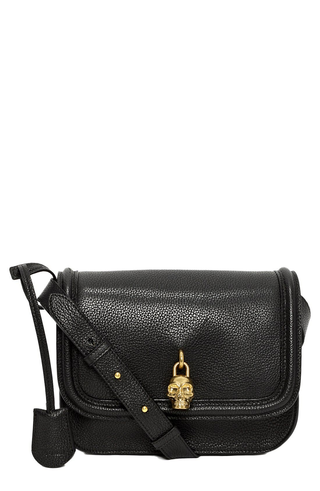 Main Image - Alexander McQueen Padlock Flap Calfskin Leather Crossbody Bag