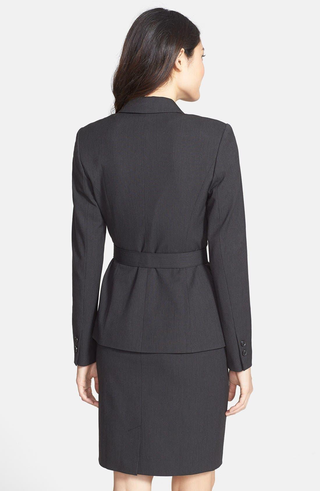 Alternate Image 2  - Halogen® Mini Pinstripe Belted Suit Jacket
