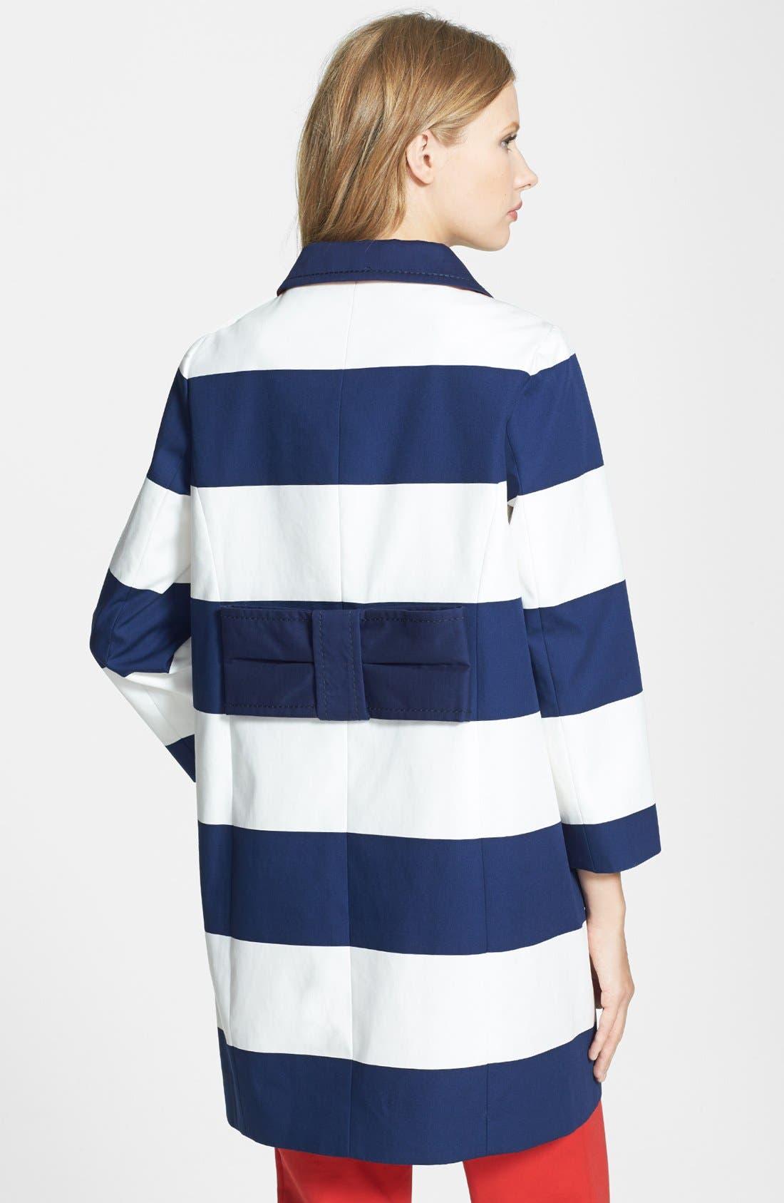 'franny' bow detail coat,                             Alternate thumbnail 2, color,                             French Navy/ Cream Barnett