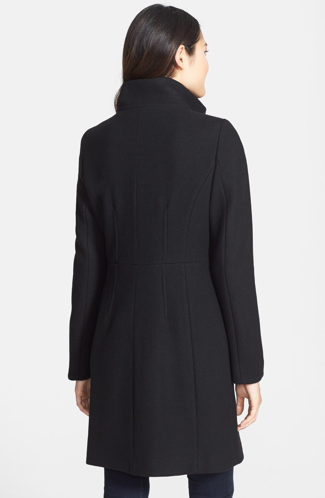 Alternate Image 2  - Elie Tahari 'Pina' Stand Collar Double Breasted Long Wool Blend Coat