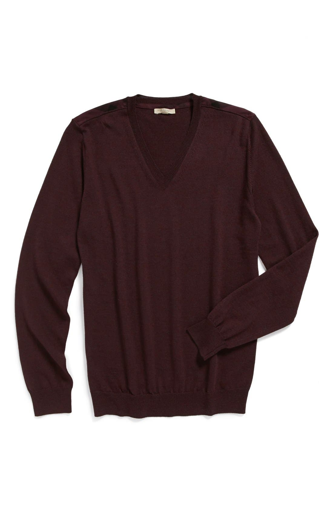 Alternate Image 4  - Burberry Brit Trim Fit Check Shoulder V-Neck Merino Wool Sweater