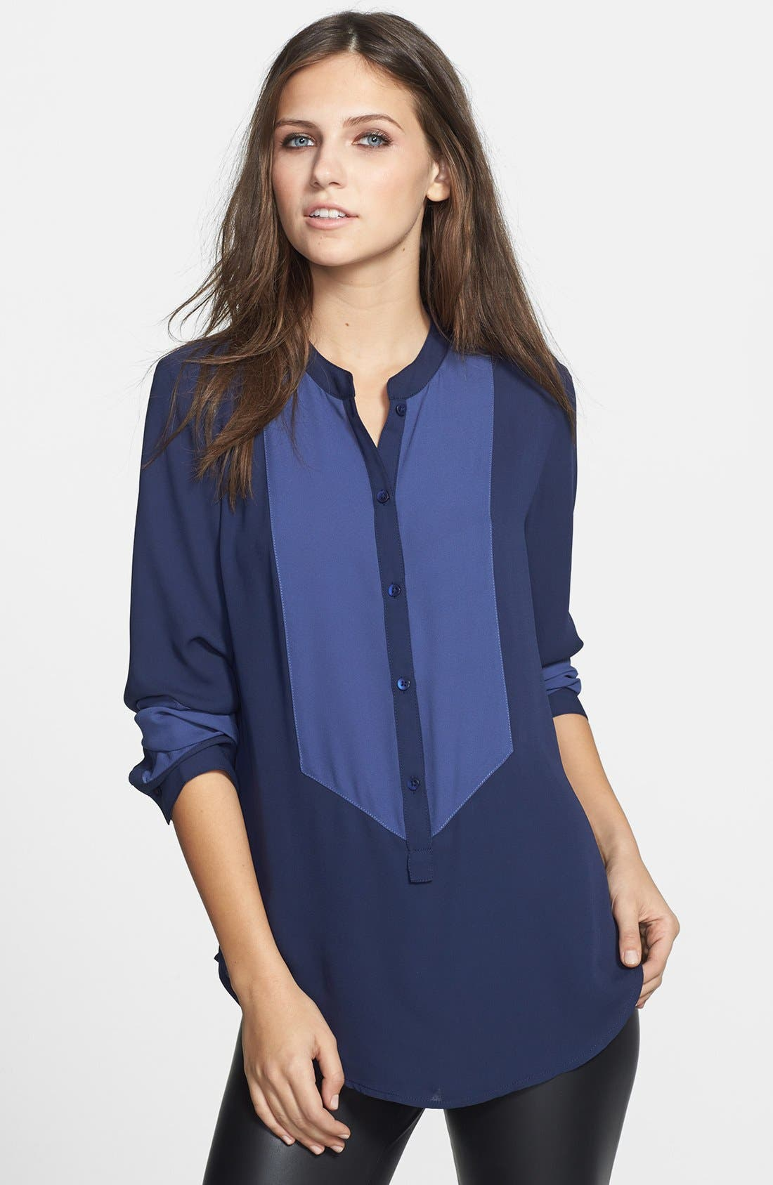 Alternate Image 1 Selected - Leith Colorblock Chiffon Shirt