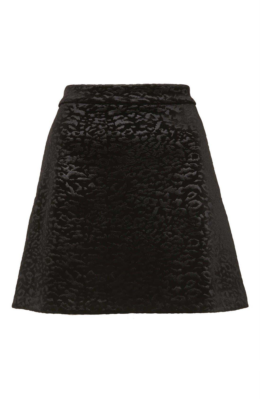 Alternate Image 3  - Topshop Animal Pattern Velvet A-Line Skirt