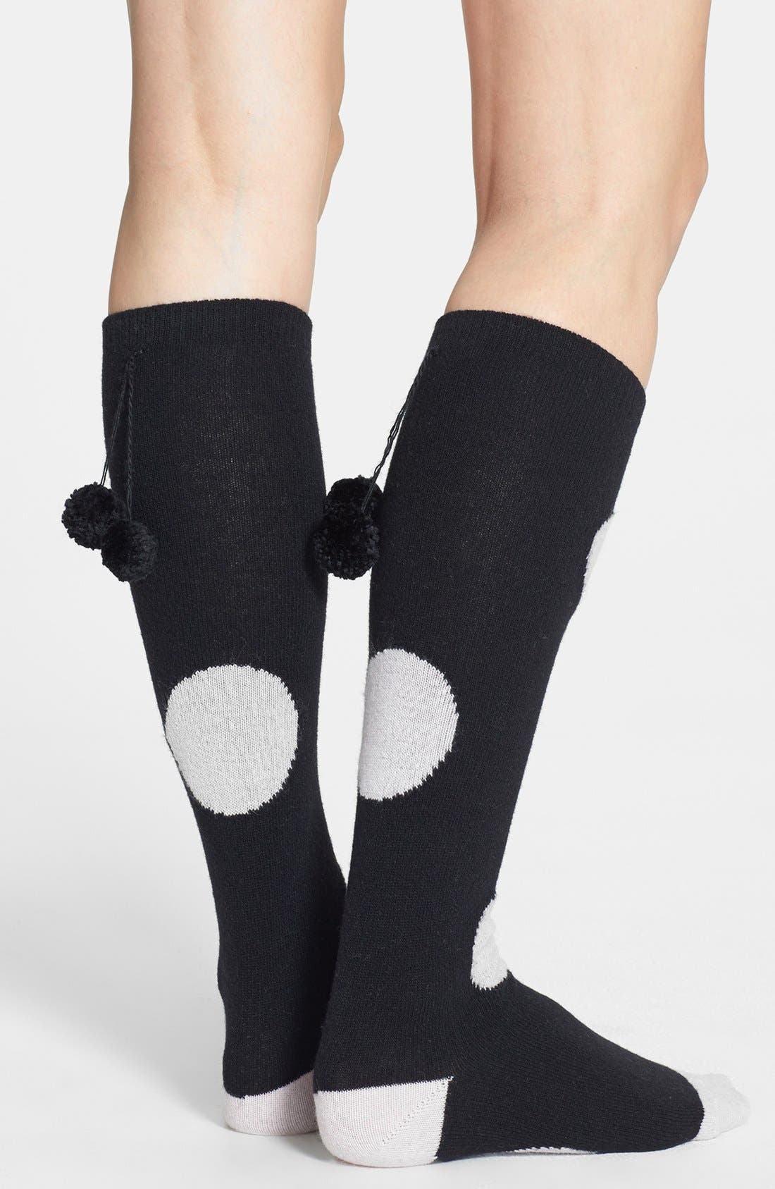 Alternate Image 2  - kate spade new york 'holiday - big spot' pompom knee high socks