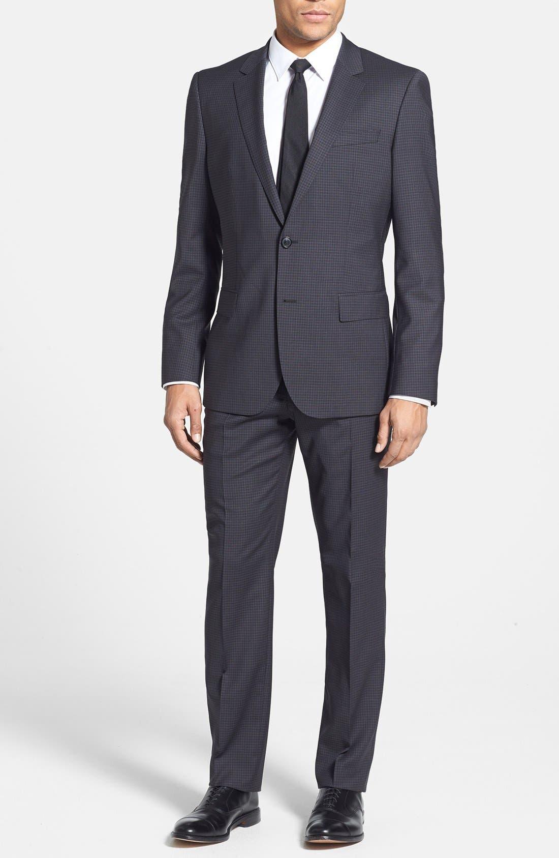 Alternate Image 1 Selected - BOSS HUGO BOSS 'Huge/Genius' Trim Fit Check Suit