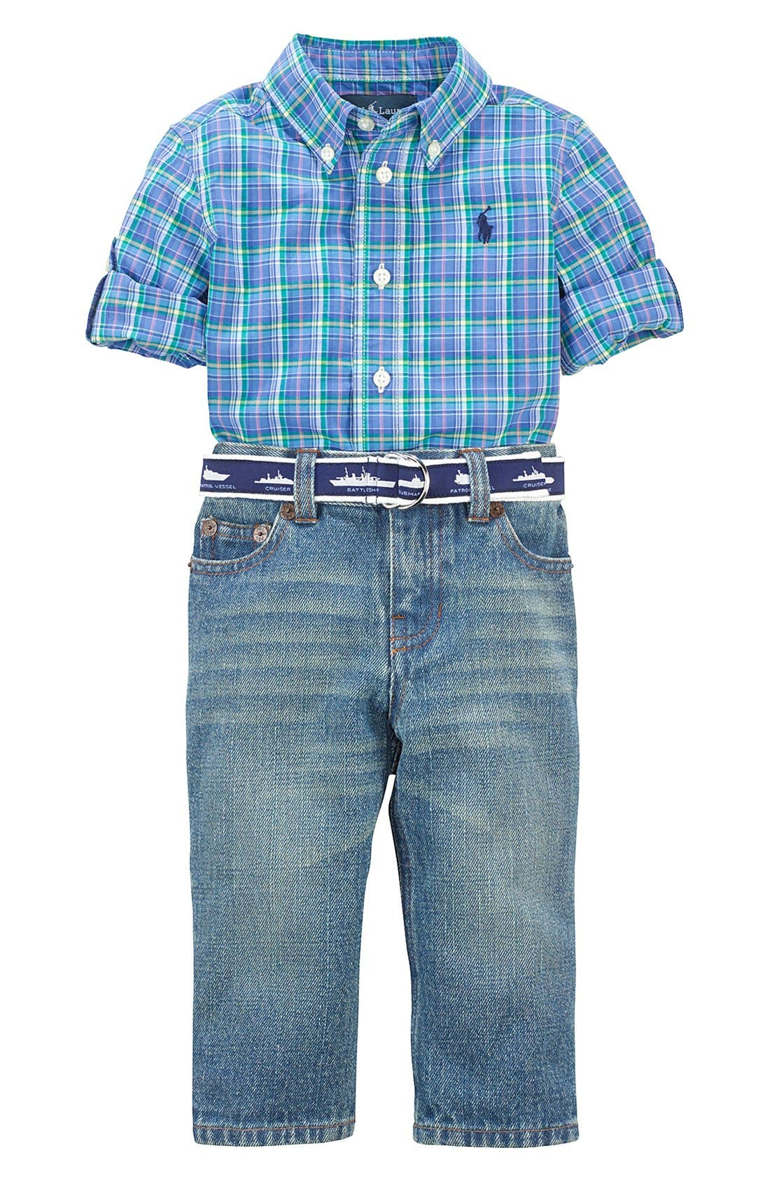 Alternate Image 1 Selected - Ralph Lauren Plaid Sport Shirt & Jeans (Baby Boys)