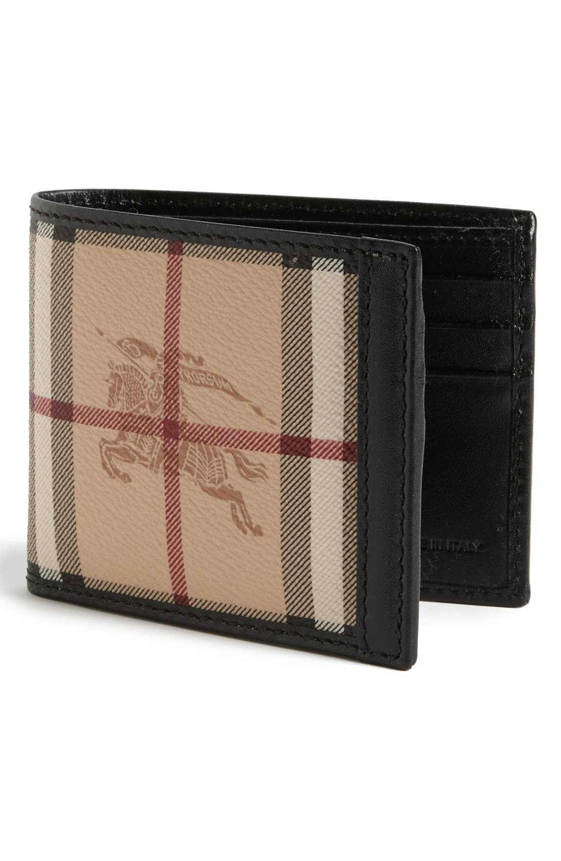 Alternate Image 1 Selected - Burberry Small Check Print Billfold Wallet