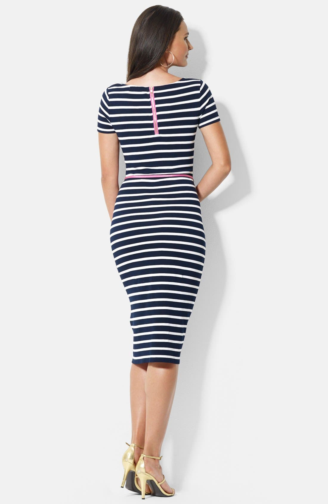 Alternate Image 2  - Lauren Ralph Lauren Stripe Knit Dress (Petite)