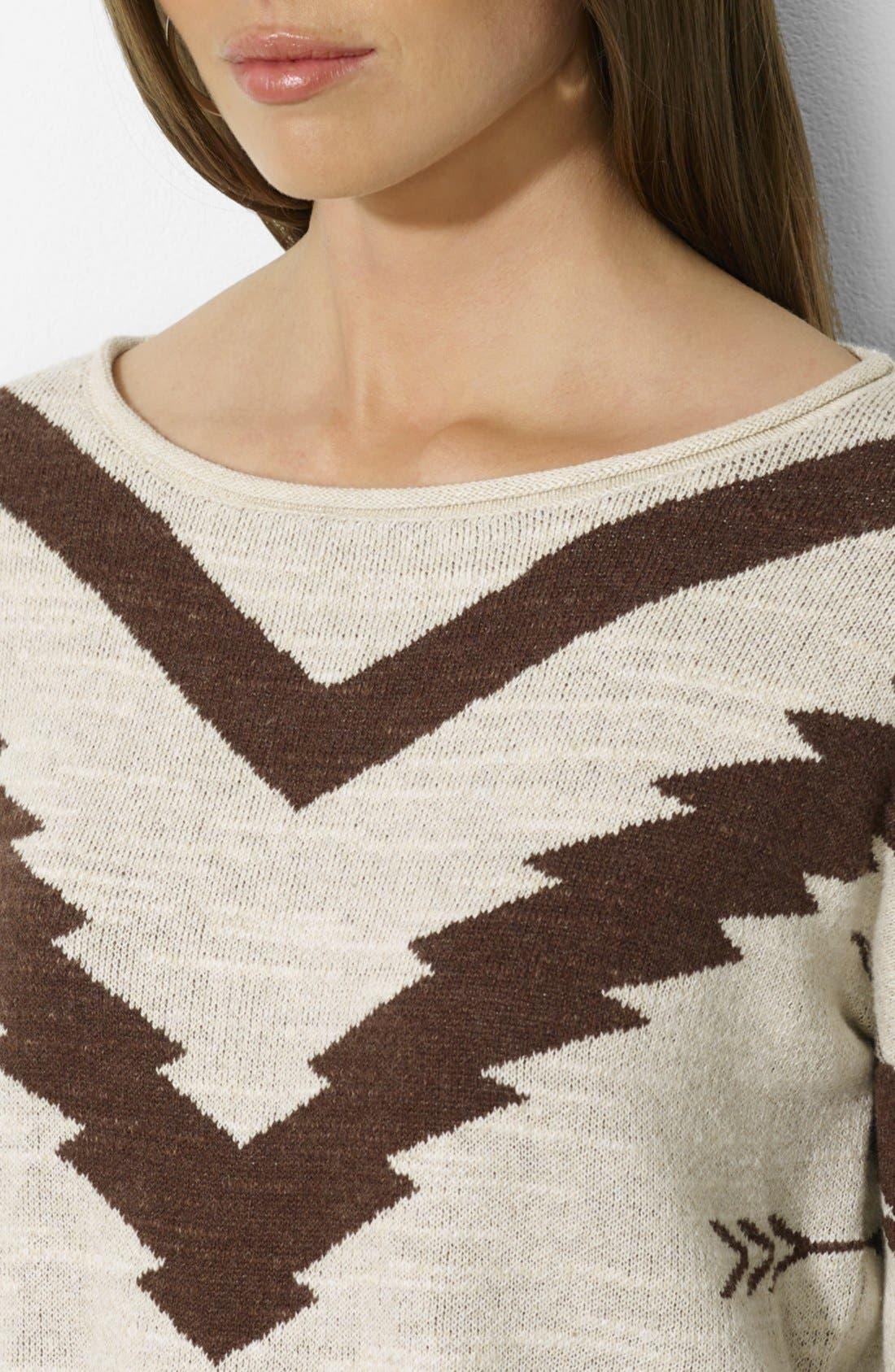Alternate Image 3  - Lauren Ralph Lauren Patterned Boat Neck Sweater (Petite)