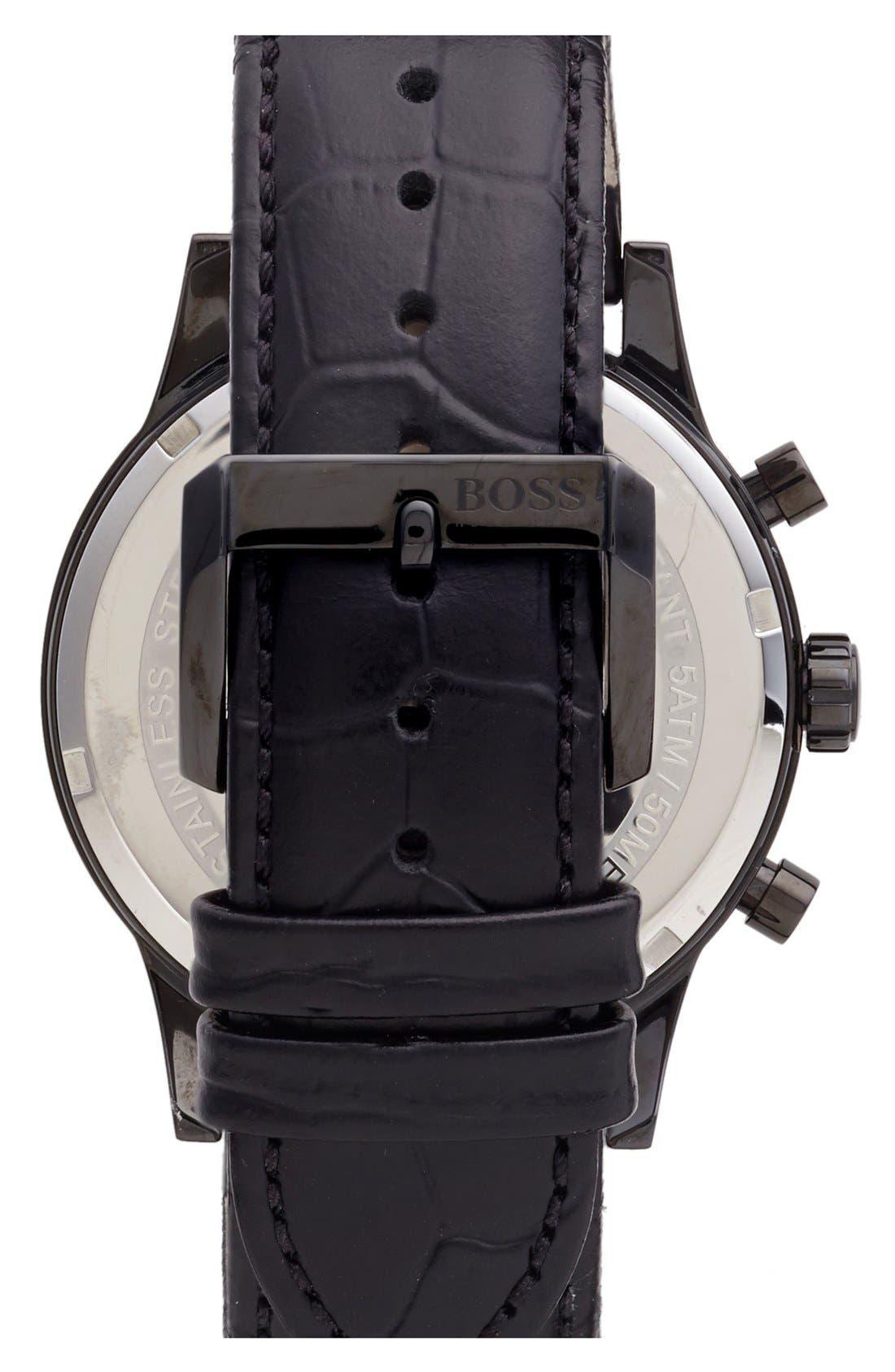 Alternate Image 2  - BOSS Chronograph Leather Strap Watch, 44mm