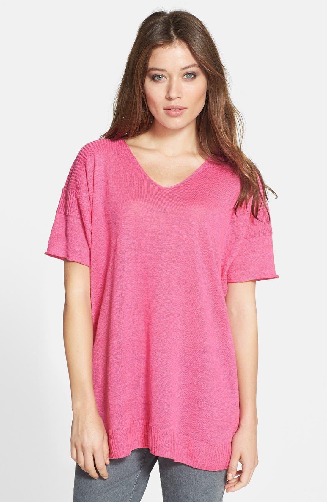 Alternate Image 1 Selected - Lafayette 148 New York Oversized Linen V-Neck Sweater