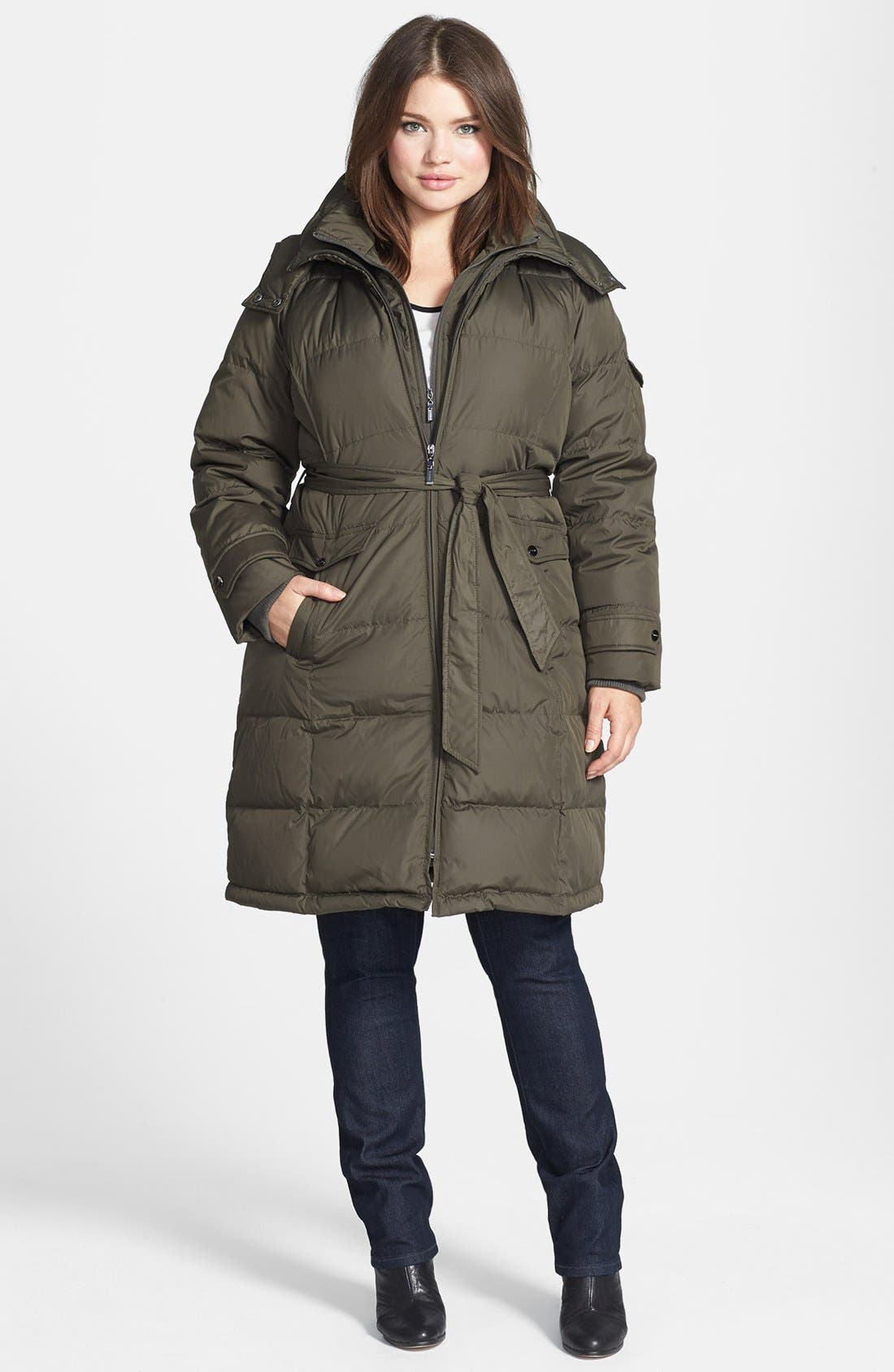 Main Image - Ellen Tracy Belted Front Zip Down Coat with Detachable Hood (Plus Size)