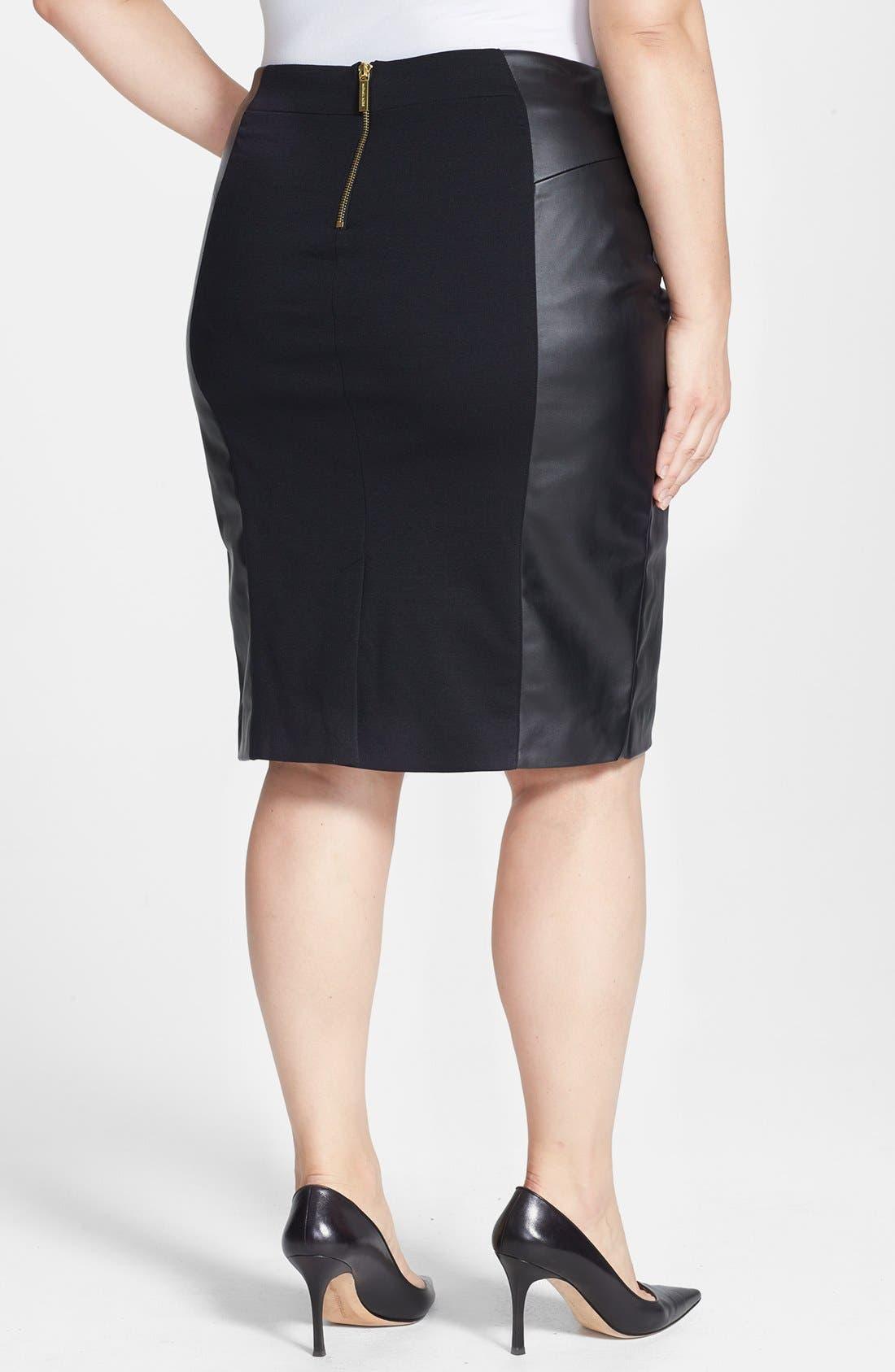 Alternate Image 2  - MICHAEL Michael Kors Ponte & Faux Leather Skirt (Plus Size)