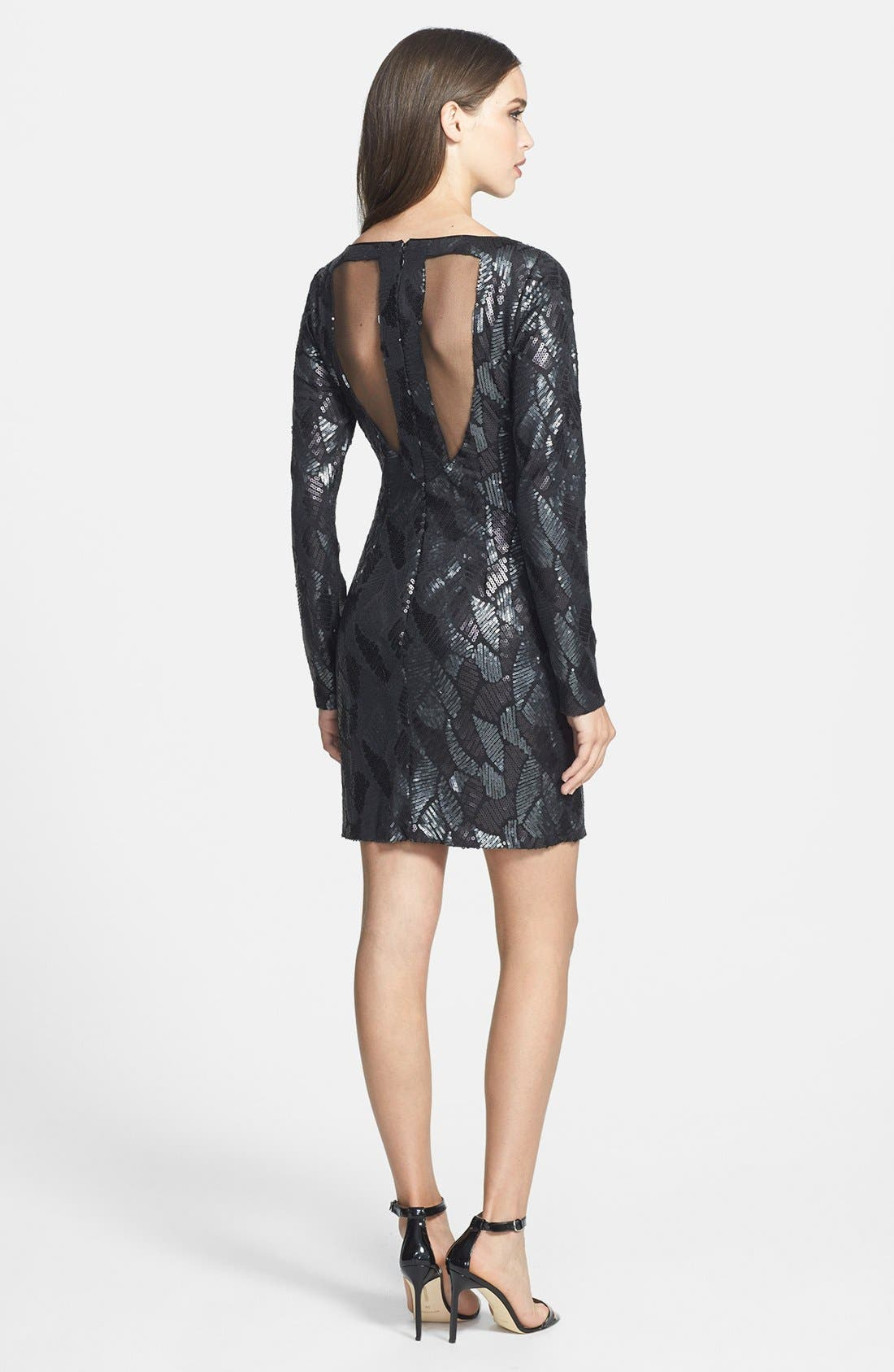 Alternate Image 2  - Hailey by Adrianna Papell Sequin Pattern Illusion Cutout Jersey Dress