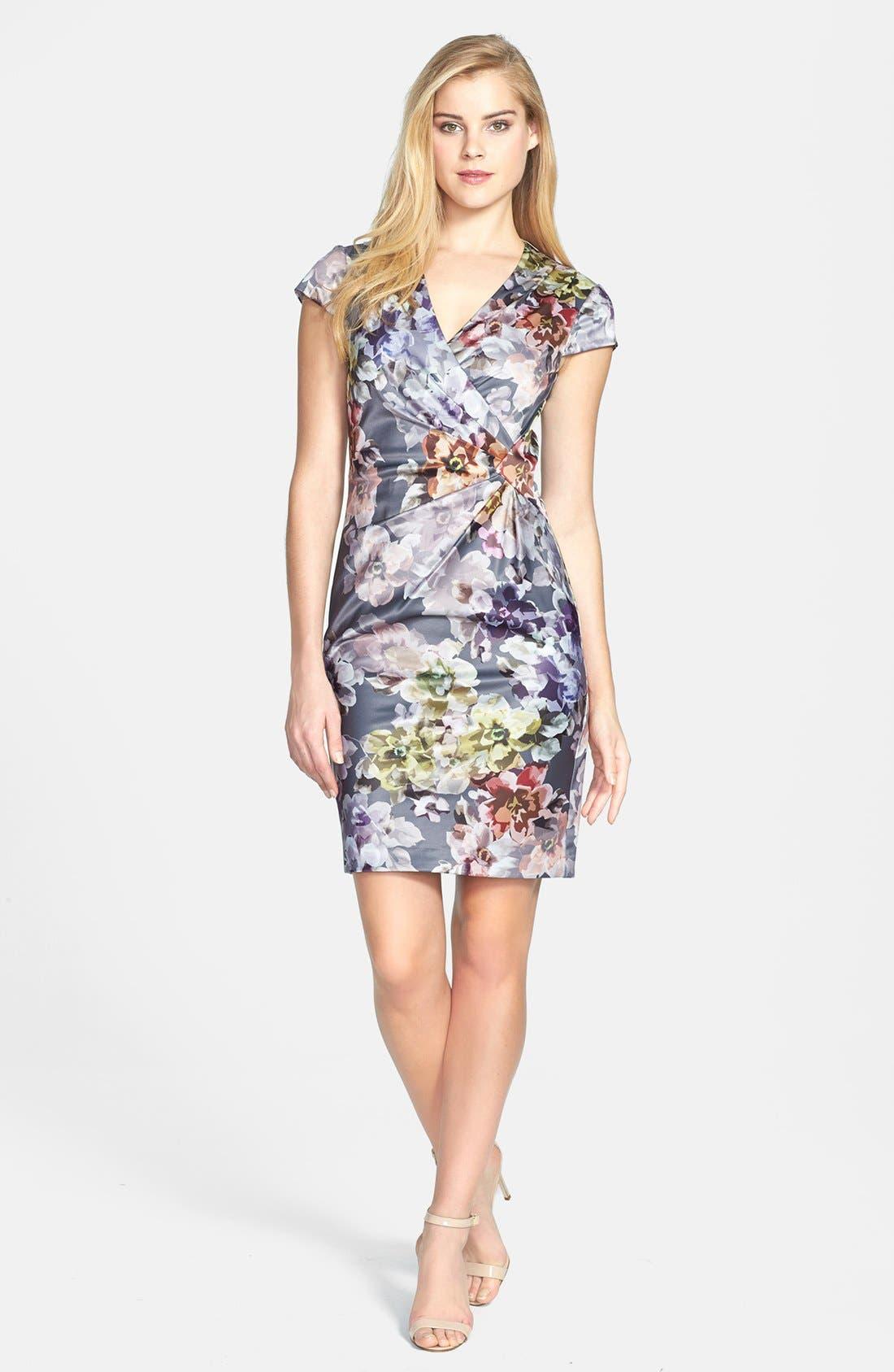 Alternate Image 2  - Ivy & Blu Print Side Pleat Sheath Dress