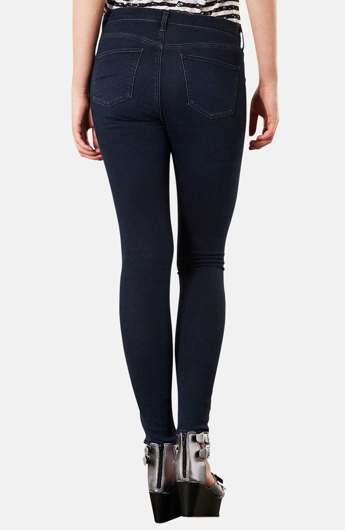 Alternate Image 2  - Topshop Moto 'Leigh' Skinny Jeans (Indigo) (Regular & Short)