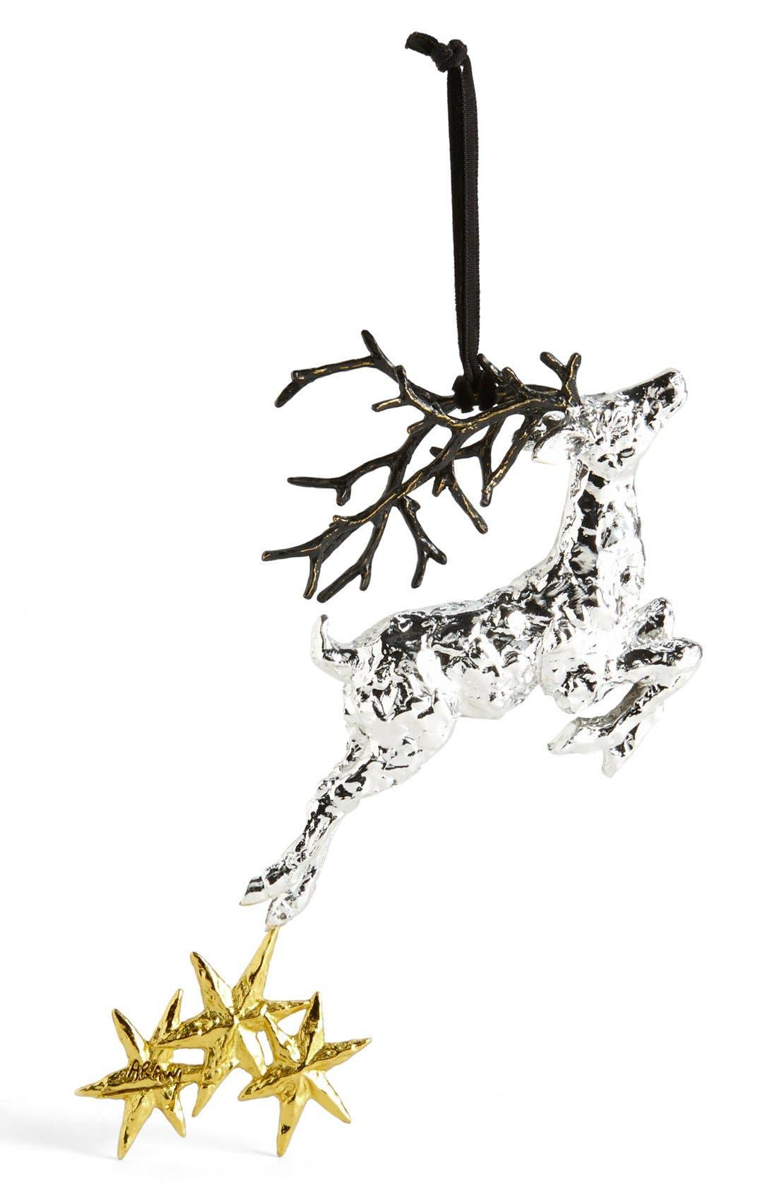 'Reindeer' Ornament,                             Main thumbnail 1, color,                             Silver