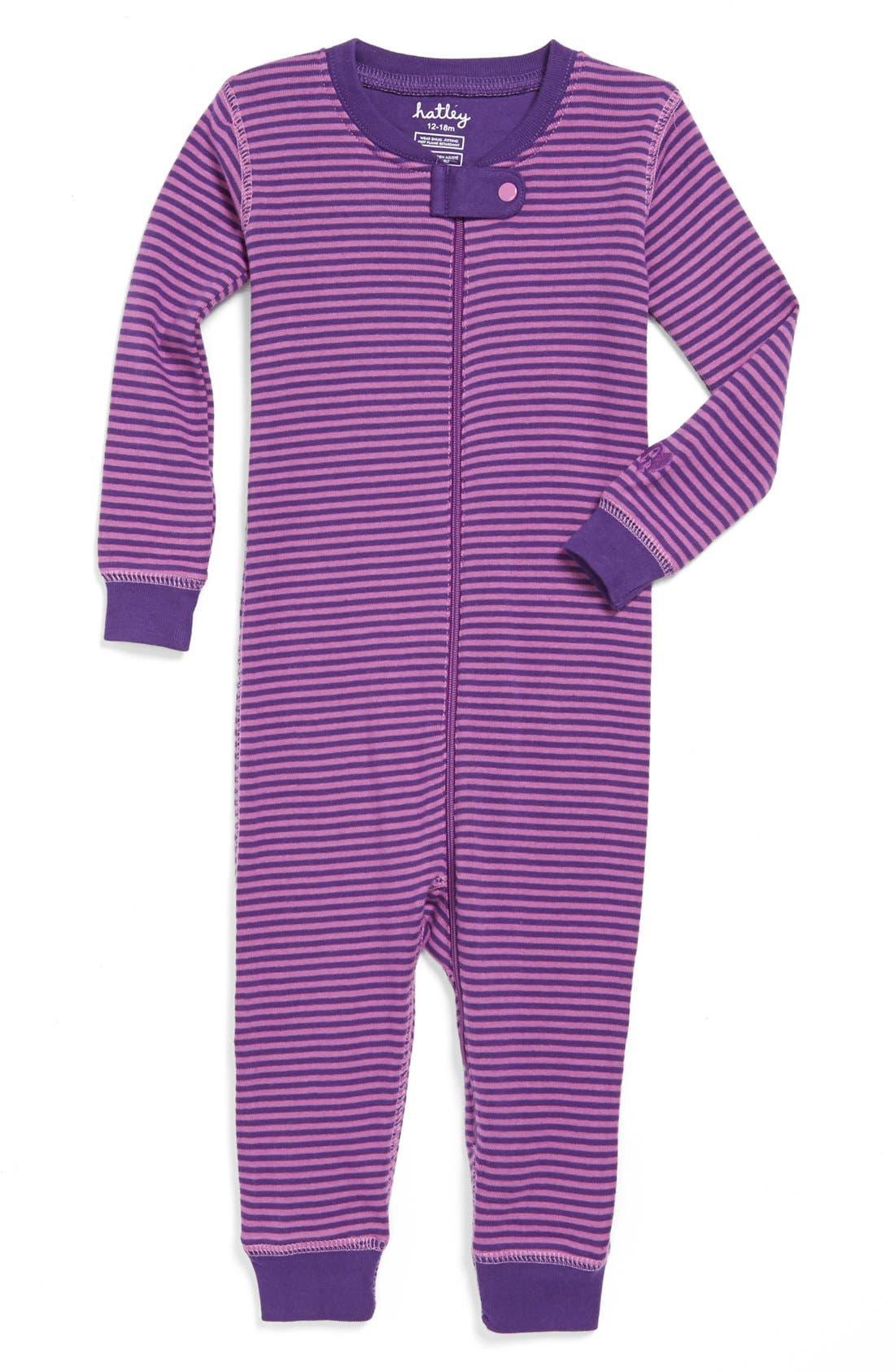Alternate Image 1 Selected - Hatley Stripe Romper (Baby Girls)