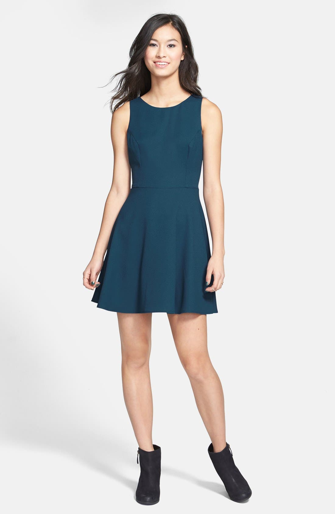 Main Image - Lush V-Back Skater Dress (Juniors)
