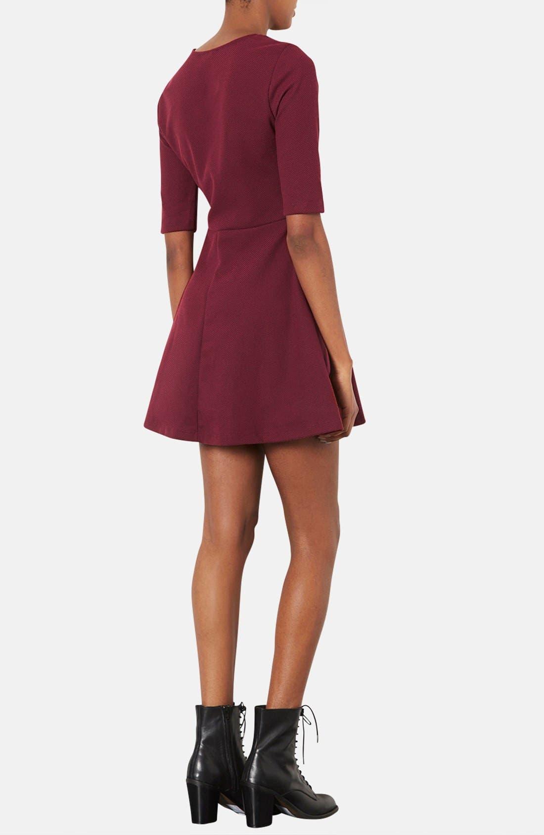 Alternate Image 2  - Topshop Seamed Textured Skater Dress